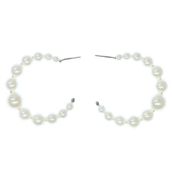 White & Silver-Tone Colored Metal Hoop-Earrings With Bead Accents #804