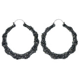 Silver-Tone Metal Hoop-Earrings With Crystal Accents #808
