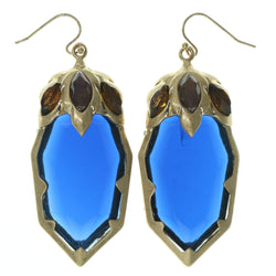 Blue & Gold-Tone Colored Metal Dangle-Earrings With Crystal Accents #812