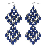 Blue & Silver-Tone Colored Metal Dangle-Earrings With Faceted Accents #814