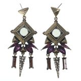 Gold-Tone & Purple Colored Metal Dangle-Earrings With Crystal Accents #819