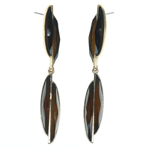 Brown & Gold-Tone Colored Metal Dangle-Earrings With Faceted Accents #821