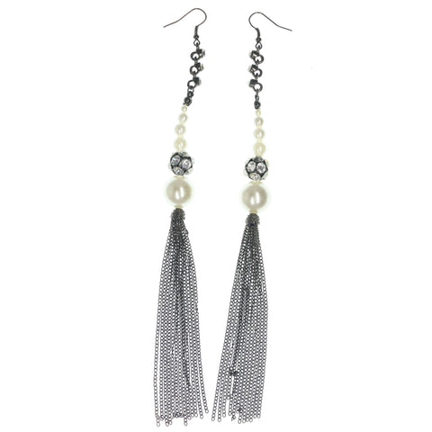 Silver-Tone & White Colored Metal Dangle-Earrings With Bead Accents #822