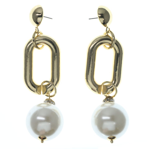 Gold-Tone & White Colored Metal Dangle-Earrings With Bead Accents #826