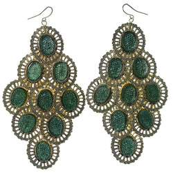 Gold-Tone & Green Colored Metal Chandelier-Earrings With Bead Accents #827