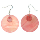 Shell Dangle-Earrings Pink & Silver-Tone Colored #828