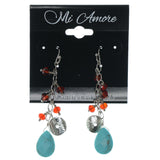 Silver-Tone & Multi Colored Metal Dangle-Earrings With Bead Accents #834