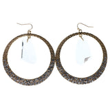 Gold-Tone Metal Dangle-Earrings With Crystal Accents #847