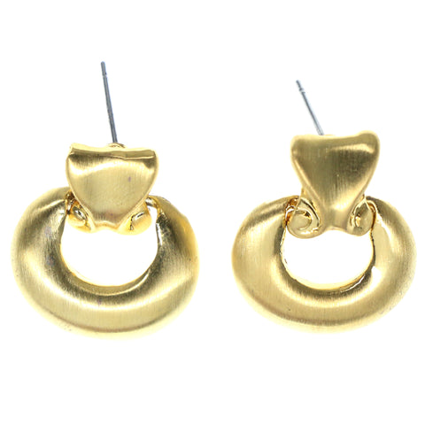 Gold-Tone Metal Stud-Earrings #849