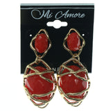 Gold-Tone & Red Colored Metal Dangle-Earrings With Faceted Accents #852