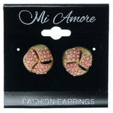Gold-Tone & Pink Colored Metal Stud-Earrings With Bead Accents #855