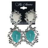 Silver-Tone & Blue Colored Metal Dangle-Earrings With Faceted Accents #858