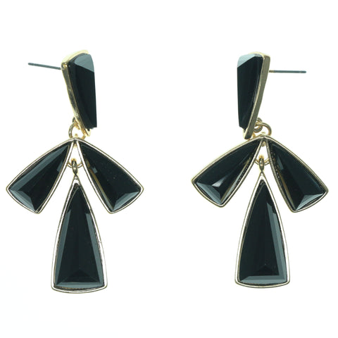 Black & Gold-Tone Colored Metal Dangle-Earrings With Faceted Accents #860