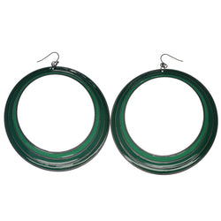 Green & Silver-Tone Colored Metal Dangle-Earrings #861