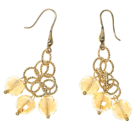Gold-Tone & Yellow Colored Metal Dangle-Earrings With Bead Accents #862