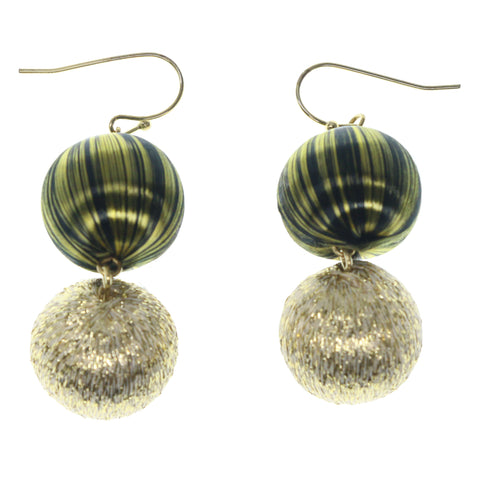 Gold-Tone & Green Colored Fabric Dangle-Earrings With Bead Accents #864