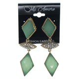 Green & Gold-Tone Colored Metal Dangle-Earrings With Crystal Accents #866