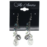 Silver-Tone & Blue Colored Metal Dangle-Earrings With Bead Accents #869