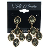 Gold-Tone & Black Colored Metal Dangle-Earrings With Faceted Accents #870