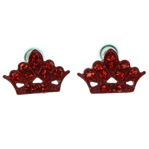 Crown Stud-Earrings With Crystal Accents  Red Color #871