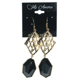 Gold-Tone & Black Colored Metal Dangle-Earrings With Faceted Accents #872