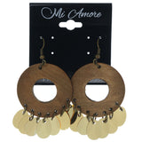Brown & Gold-Tone Colored Wooden Dangle-Earrings #873