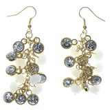Gold-Tone & White Colored Metal Dangle-Earrings With Crystal Accents #874