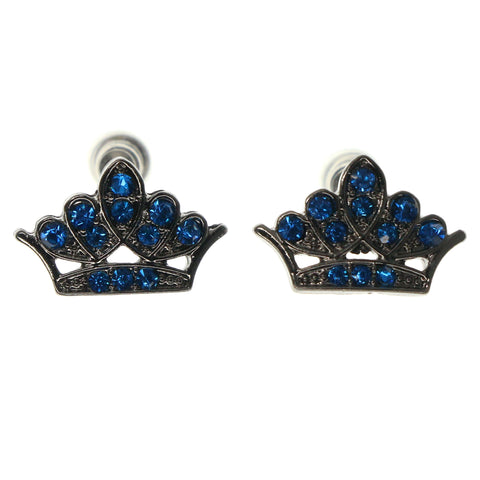 Crown Stud-Earrings With Crystal Accents Blue & Silver-Tone Colored #875