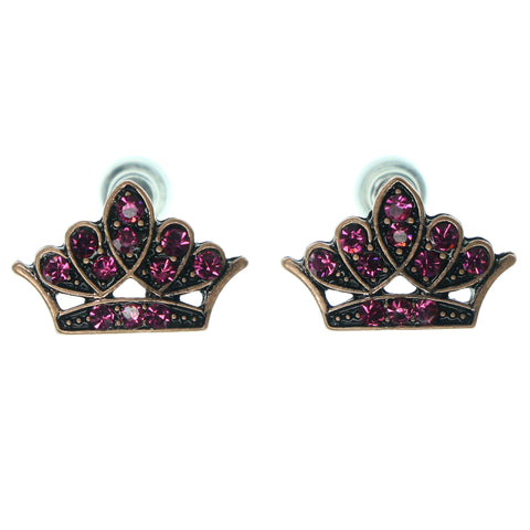 Crown Fashion-Earrings With Crystal Accents Pink & Gold-Tone Colored #876
