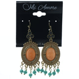 Gold-Tone & Multi Colored Metal Dangle-Earrings With Bead Accents #879