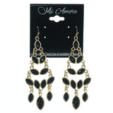 Black & Gold-Tone Colored Metal Dangle-Earrings With Faceted Accents #883