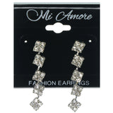 Silver-Tone Metal Dangle-Earrings With Crystal Accents #887