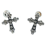 Cross Stud-Earrings With Crystal Accents  Silver-Tone Color #888