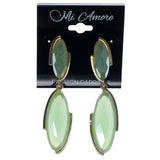 Green & Gold-Tone Colored Metal Dangle-Earrings With Faceted Accents #892