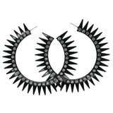 Black & Silver-Tone Colored Metal Hoop-Earrings With Crystal Accents #893