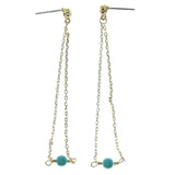 Gold-Tone & Blue Colored Metal Dangle-Earrings With Bead Accents #894