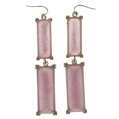 Pink & Gold-Tone Colored Metal Dangle-Earrings With Faceted Accents #896