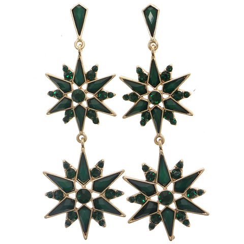 Green & Gold-Tone Colored Metal Dangle-Earrings With Crystal Accents #897