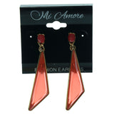 Red & Gold-Tone Colored Metal Dangle-Earrings With Crystal Accents #898