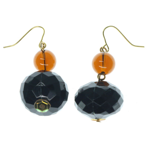Black & Gold-Tone Colored Metal Dangle-Earrings With Bead Accents #900