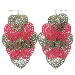 Heart Chandelier-Earrings Pink & Gold-Tone Colored #904
