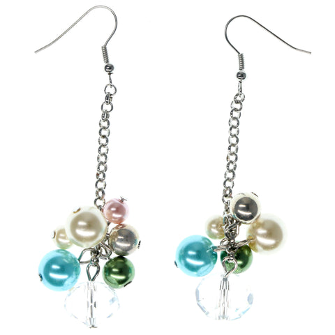 Silver-Tone & Multi Colored Metal Drop-Dangle-Earrings With Bead Accents #906