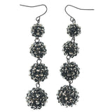 Black & Silver-Tone Colored Metal Dangle-Earrings With Crystal Accents #914