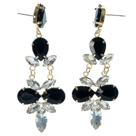 Black & Gold-Tone Colored Metal Dangle-Earrings With Crystal Accents #915