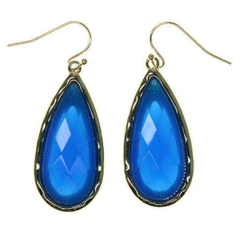 Blue & Gold-Tone Colored Metal Dangle-Earrings With Faceted Accents #916