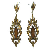 Yellow & Gold-Tone Colored Metal Dangle-Earrings With Crystal Accents #919