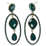 Gold-Tone & Green Colored Metal Dangle-Earrings With Crystal Accents #920