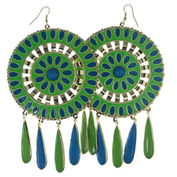 Green & Blue Colored Metal Dangle-Earrings With Drop Accents #923