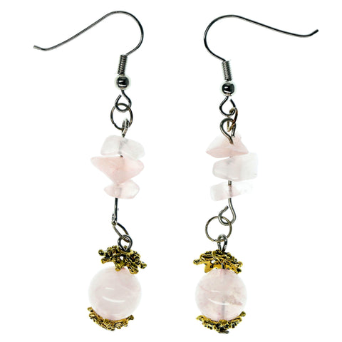 Pink & Gold-Tone Colored Metal Dangle-Earrings With Stone Accents #933