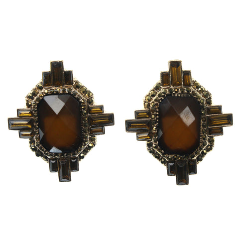 Brown & Gold-Tone Colored Metal Stud-Earrings With Faceted Accents #937
